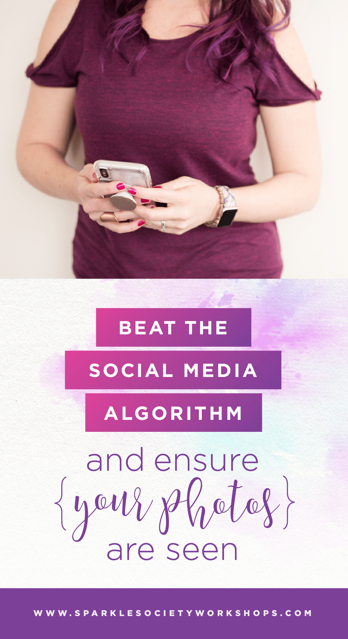 Wondering how to get your posts to show up in your followers' newsfeed? I hear you! Learn four simple steps to beat the algorithm right now and make your posts shine! #sparkleblog #sparklesociety @sparklesocietyworkshops