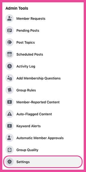 Facebook Group Settings in BETA